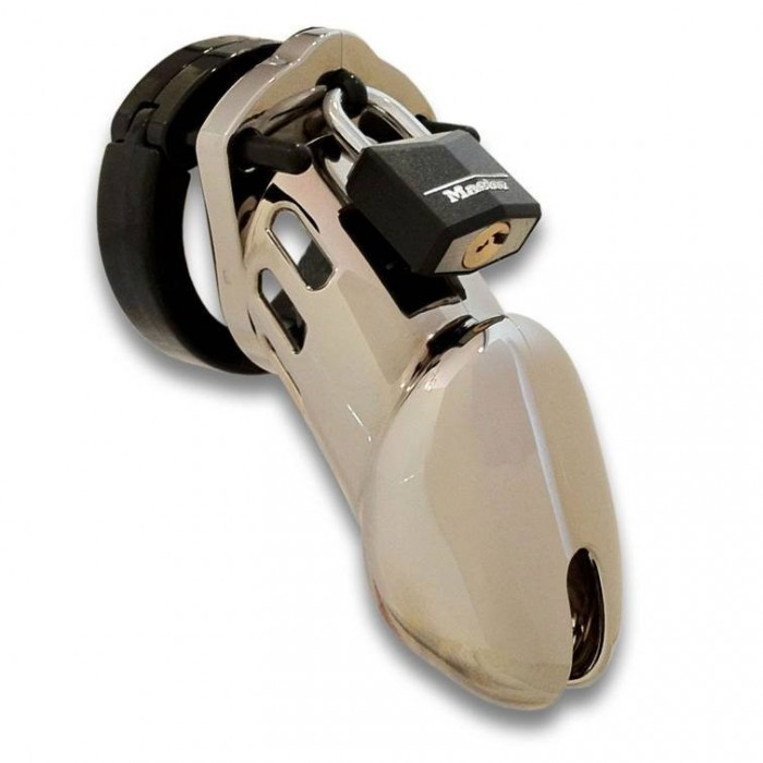 CB-6000 chastity device with chrome finish