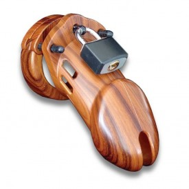 CB-6000 chastity cage in wood finish