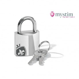 Pubic Enemy No 2 male chastity cage with electro chock from MyStim, with e-stim sound.
