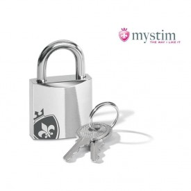 Chastity cage from MyStim with electrodes along the side of the penis. Award winning product in the best quality.