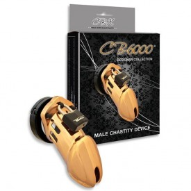 Kyskhedsbælte i guld design fra CB-X. CB-6000 gold kyskhedsbur.