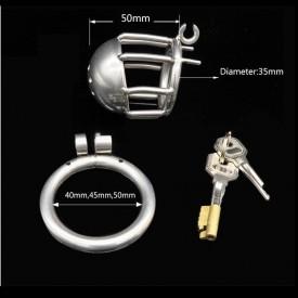 Kyskhedsbur med indbygget låsesystem og hul til urinrørsstimulering. Danmarks største udvalg af kyskhedsbælter til mænd og kvind