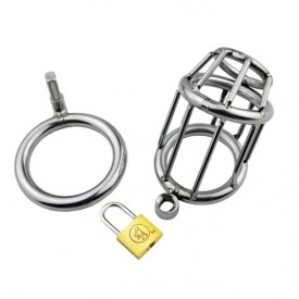 Chastity cage for men. Exlusive design with bars and padlock. Discreet delivery.
