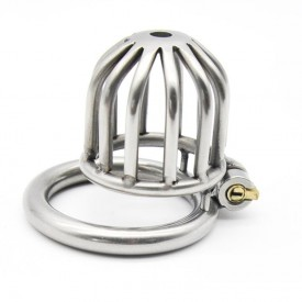 The Dome chastity cage for men in stainless steel with integrated locking system. Discreet delivery world wide.