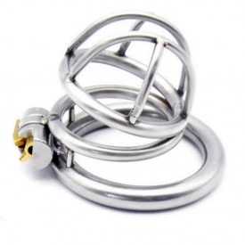 Chastity device in stainless steel with integrated locking system. Discreet and secure delivery from Kink-Shop.net