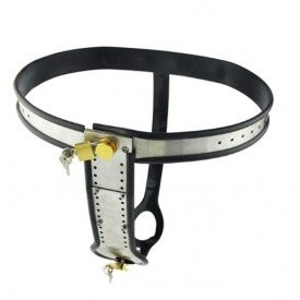Female chastity belt, fully ajustable belt with a core of alominium. Can be worn with or without vaginal and anal dildos.